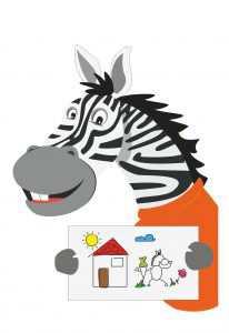 Zebra mit Zeichnung
